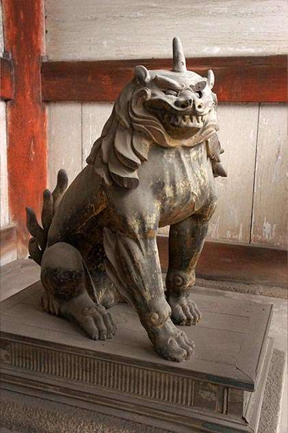 a lion dog komainu in kyoto
