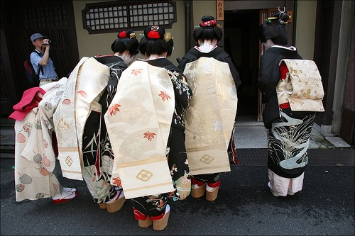 Three Maiko and one Geisha